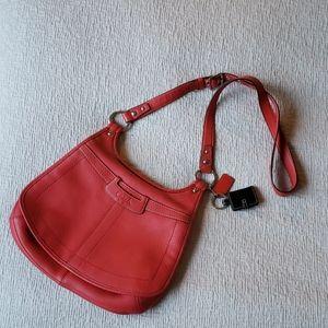 Coach Red Leather Saddle Bag Slim